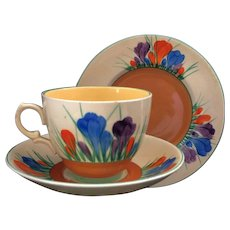 "Clarice Cliff Hand Painted Art Deco Original Windsor ""Autumn Crocus"" Tea Trio"