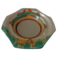 "Clarice Cliff Hand Painted Art Deco Original ""Secrets"" Octagonal Bowl"