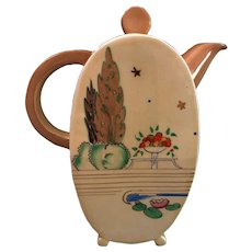 "Clarice Cliff Hand Painted Art Deco Original Rare Bonjour shape ""Napoli"" Coffee Pot"