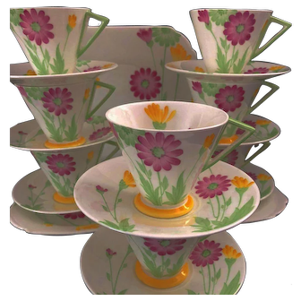 "Art Deco Shelley Eve "" Daisy's"" Complete Tea Set for 8"