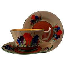 """Art Deco Clarice Cliff Athens""""Crocus"""" Tea Trio"""