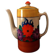 """Clarice Cliff Hand Painted Art Deco Original """"Gayday"""" Coffee Pot"""