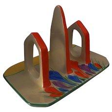 "An Original Art Deco Clarice Cliff ""Autumn Crocus"" Toast Rack"
