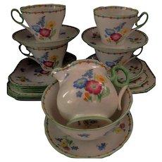 "Shelley Art Deco ""Wild Flowers"" Tea-set for 4"