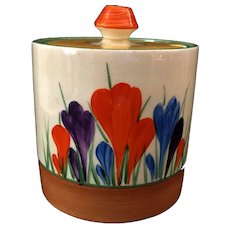 """Clarice Cliff Hand Painted Art Deco Original """"Autumn Crocus"""" Drum Preserve pot"""