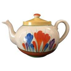 """Clarice Cliff Hand Painted Art Deco Original """"Autumn Crocus"""" Globe Teapot"""