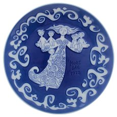 MOTHER'S DAY 1972 Plate by Royal Copenhagen grade A! Classic Danish design. Vintage collectible porcelain plate with blue glaze