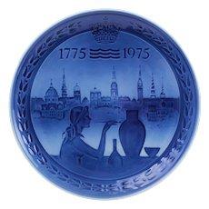 ROYAL COPENHAGEN Bicentenary Plate 1775- 1975 Grade A. Danish Modern design. Scandinavian commemorative porcelain plate with blue glaze