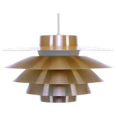 VERONA brass pendant light by Sven Middelboe Nordisk Solar Compagni 1980s. Danish vintage design. Scandinavian Modern ceiling light
