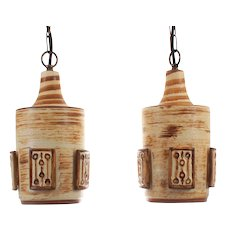 POTTERY PENDANTS - 1970s pair of beige pottery hanging lamps