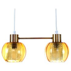 DUO CRYSTAL and brass light fixture 1960s Scandinavian Mid-Century Modern lighting. Crystal glass ceiling lights with brass tops & crossbar