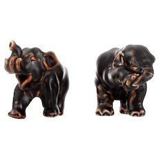 Royal Copenhagen figurines set of two elephants by Jeanne Grut Grade A. Danish stoneware figurines with brown glaze in pristine condition!