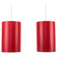SEKTOR (pair) red pendant lights by Jo Hammerborg Fog & Morup 1970s. Danish mid-century modern design. Red minimalist hanging lamps!