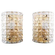 CRYSTAL SCONCES (pair) wall lamps by Carl Fagerlund Orrefors 1960s. Swedish Mid-century design. RARE gorgeous pair of stylish wall lights
