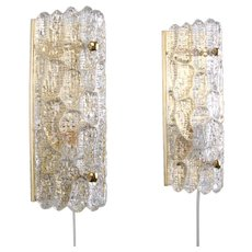 GEFION SCONCES (pair) crystal glass wall lights by Orrefors 1960s. Scandinavian mid-century modern design. Two beautiful wall lamps