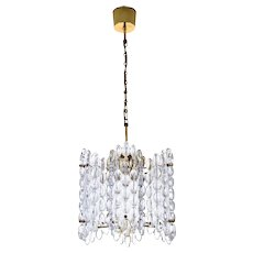 CRYSTAL CHANDELIER by Carl Fagerlund, Orrefors, 1960s. Swedish Mid-century modern design. Gorgeous large crystal and brass ceiling lamp