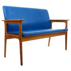 TWO-SEAT SOFA by Erik Buch 1970s. Danish mid-century design. Gorgeous oil-treated oak couch with clear blue upholstery, very good condition