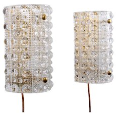 ORREFORS VENUS (pair) crystal sconces by LYFA/Orrefors 1960s. Scandinavian Mid-century design. Gorgeous pair of crystal glass wall lamps