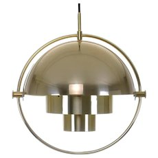 MULTI-LITE, pendant lighting by Louis Weisdorf, Lyfa, 1974. Danish Modern design. Extremely attractive brass ceiling light - vintage edition