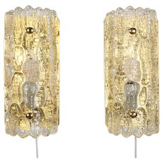 GEFION SCONCES (pair) crystal glass wall lights by Lyfa/Orrefors 1960s. Scandinavian mid-century modern design. Beautiful wall lamps