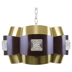 BROWN and BRASS ceiling light 1970s. Scandinavian Modern lighting design. Beautiful large hanging lamp with prisms, including canopy