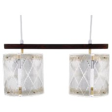 DOUBLE CRYSTAL light fixture by Eriksmålaglas, 1950s. Scandinavian mid-century design. Attractive crystal glass and rosewood hanging light