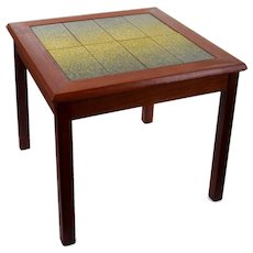TEAK & TILE TOP side table 1960s Scandinavian mid-century design. Beautiful teak lamp or planter table with green and yellow tile top design