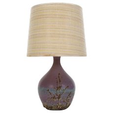 PURPLE TABLE LAMP 1970s. Scandinavian ceramic design. Lavender purple lamp-stand with beautiful decoration and fabric shade included
