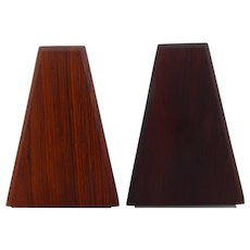 2 ROSEWOOD BOOKENDS (pair) 1960s. Mid-century Danish design. A pair of beautiful bookends in rosewood with gray steel bases