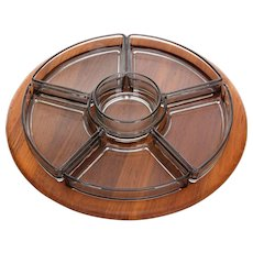 LAZY SUSAN by Digsmed 1960s. Danish mid-century design. Gorgeous teak serving tray or platter, complete with 6 smokey glass bowls