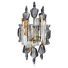 BRUTALIST SCONCE by Tom Ahlstrom & Hans Ehrich 1960s. Scandinavian mid modern design. Magnificent metal and glass wall lamp