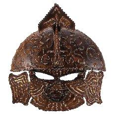 LARGE METAL MASK 1970s. Scandinavian vintage design. Gorgeous Brutalist metal warrior mask - large decorative wall piece