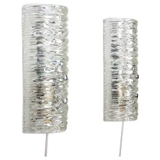 GLASS SCONCES pair 1960s Scandinavian glass wall lamps