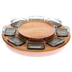 LAZY SUSAN by Digsmed in the 1960s. Danish mid-century design. Large light wood-serving tray or platter, complete with 8 smokey glass bowls