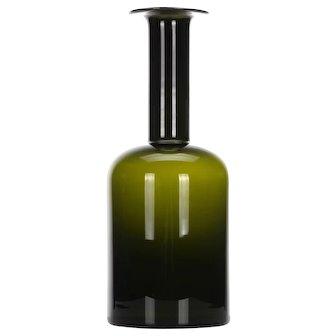 "LARGE GULVVASE (20.3"") by Otto Brauer in 1959 HOLMEGAARD. Danish mid-century design. Huge bottle-green Scandinavian modern glass floor vase"
