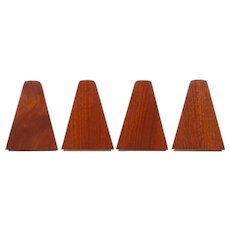 TEAK BOOKENDS set of 4. Danish mid-century design. Set of four beautiful teak bookends with steel bases