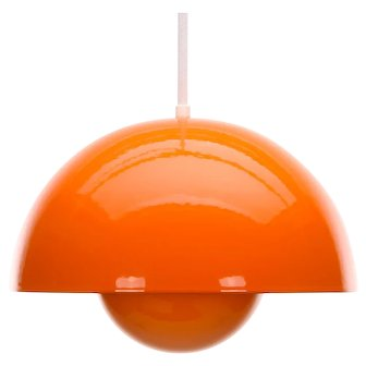 FLOWERPOT orange enameled pendant by Verner Panton for Louis Poulsen, 1968