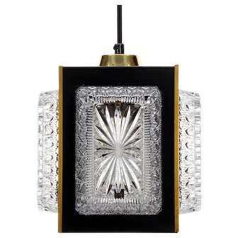 1980s BLACK SQUARE pendant with crystal glass and brass, 1950s