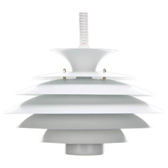 NO. 52550 white rise-and-fall lamp, Danish Form-light, 1980s
