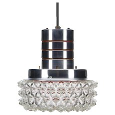 PRESSED GLASS and ALUMINUM lamp, 1960s. Scandinavian mid century hanging light