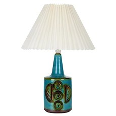 NO. 1203/3 ceramic table lamp by Danish Soholm, 1970s - pleated shade included