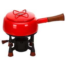 KOBENSTYLE FONDUE SET, teak, cast iron & red enamel by Quistgaard, Dansk Designs, 1955