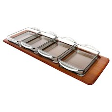 TEAK TRAY with glass bowls by Digsmed 1960s Danish Modern severing tray