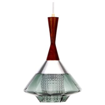 CRYSTAL and ROSEWOOD lamp 1950s Scandinavian Modern pendant lighting
