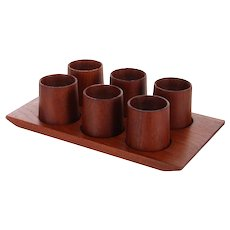TEAK EGG CUP server set, 1960s Danish Modern tray with six egg cups