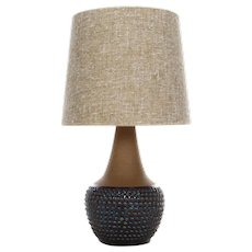 CERAMIC TABLE LAMP by Einar Johansen Soholm 1960s. Beautiful Danish mid century table light with vintage shade included