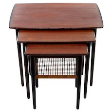 TEAK & ROSEWOOD nest of tables with raised lip 1950s.