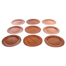 TEAK CHARGER PLATES (set of 9) 1960s vintage Danish teak plates or serving trays