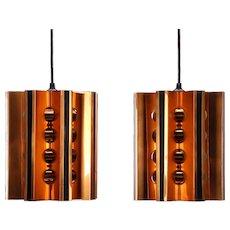 COPPER & BLACK ceiling lights (pair) by Danish Coronell, 1970s. Scandinavian Modern lighting
