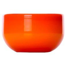 PALET orange glass bowl by Michael Bang for Holmegaard in 1969. Danish Modern glassware design.